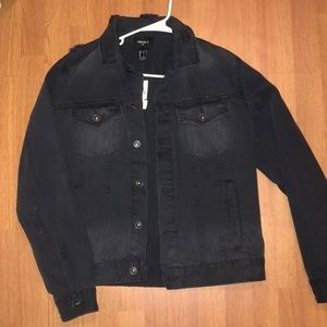 Men's black distressed jean jacket